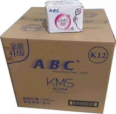 Picture of ABC cool and refreshing sanitary napkin 8 pieces (K12 night super absorbent thin cotton),1 pack, 1*48 pack|ABC清凉舒爽卫生巾卫生棉8片(K12夜用超吸纤薄棉柔表层),1包,1*48包